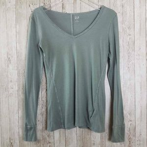 Gap Feather V-Neck Green Long Sleeves T-Shirt